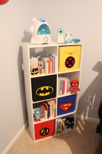 Bookcase with Super Hero bins
