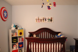 Crib, X-Men Photo, mobile, Book Case and Shield