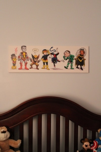 X-Men babies:  Featuring (from left to right)Shadowcat, Colossus, Wolverine, Cyclops, Nightcrawler, Rogue, Storm